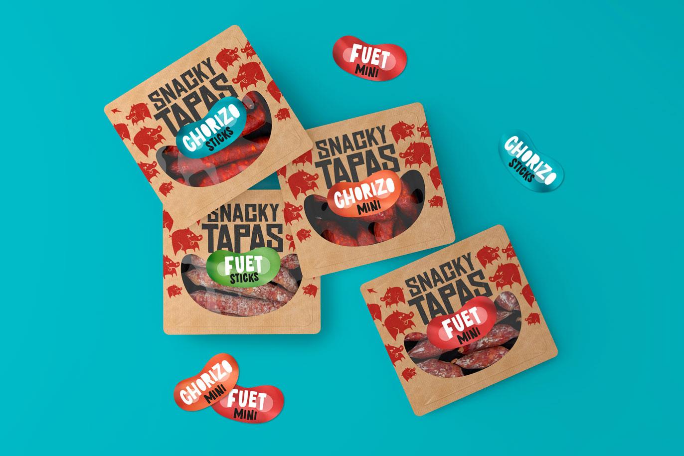 Can Calet Snacky Tapas branding naming packaging il·lustració gran consum FMCG snacks disseny gràfic Vibranding