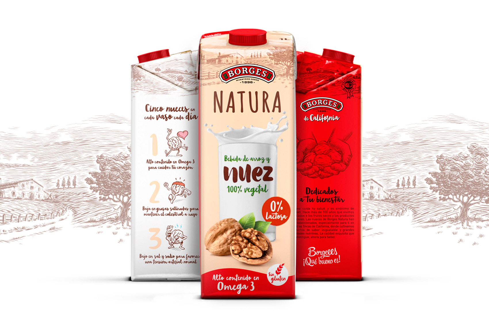 Borges International Group Borges Natura nut drink packaging graphic design tetra-brick illustration product shooting Vibranding