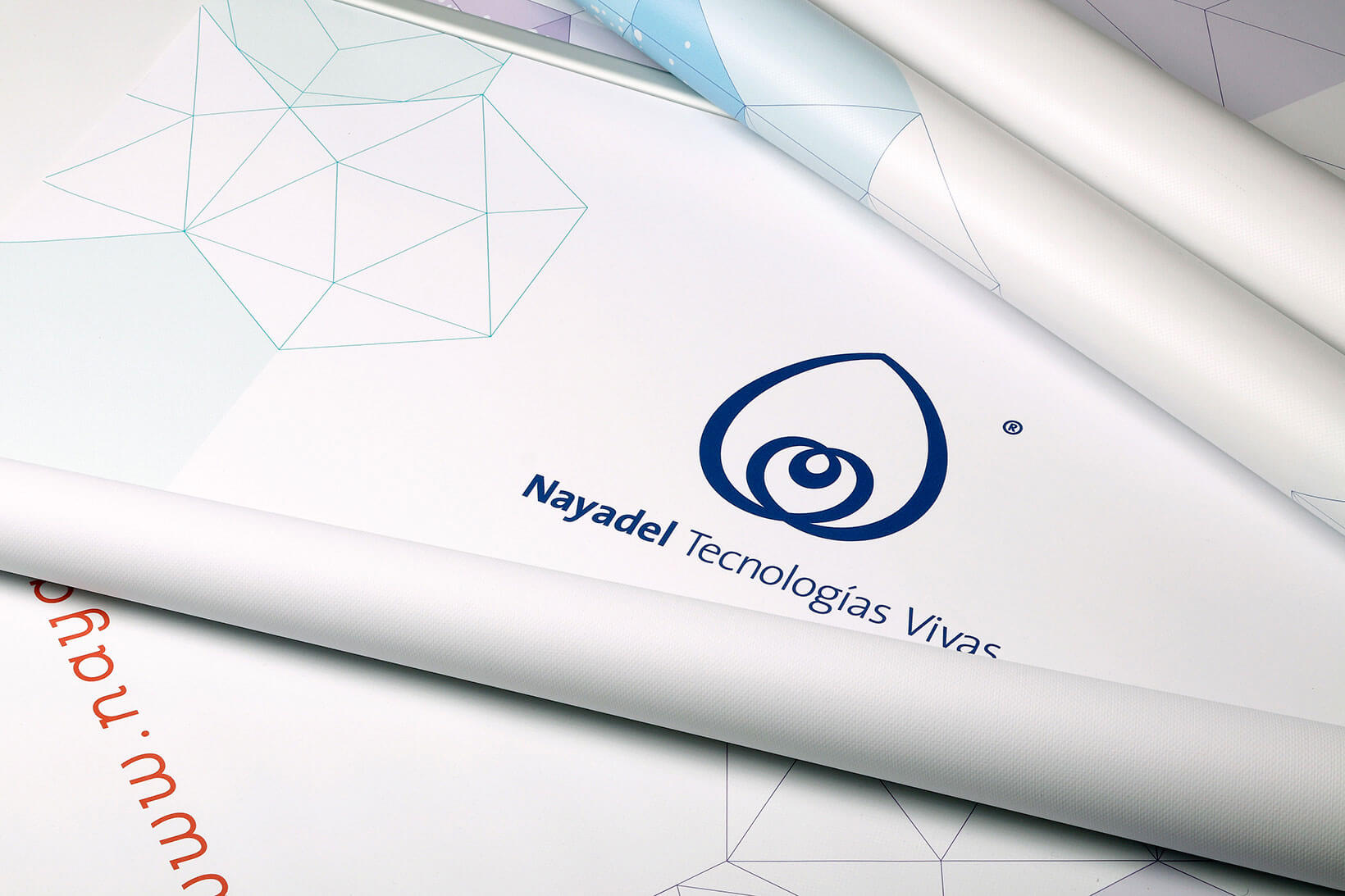 Nayadel branding corporate identity art direction graphic design visual communication sales material roll-up Vibranding