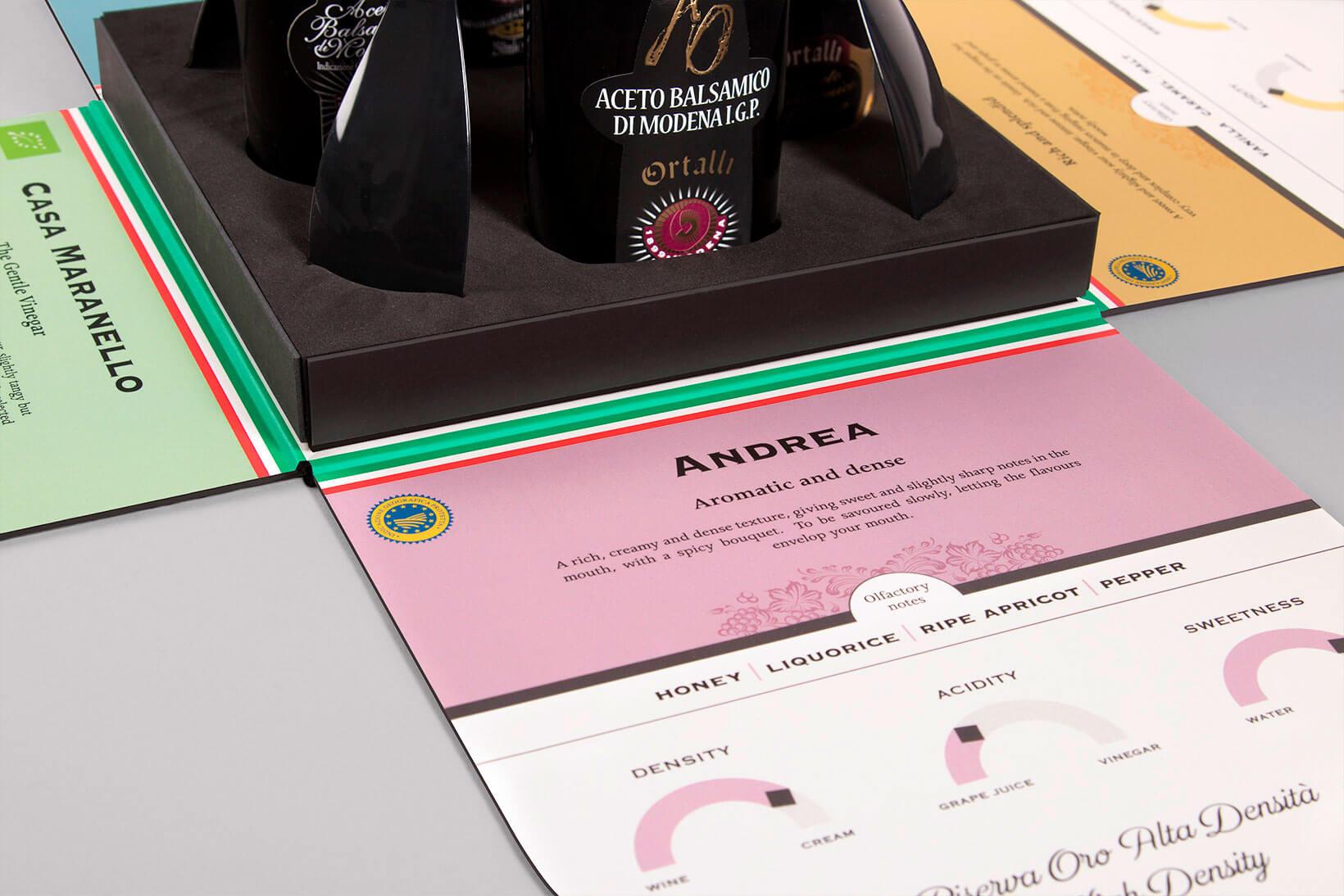 Detalle del selling kit diseñado para Ortalli