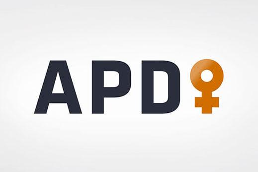 Logotipo diseño de Vibranding para APD