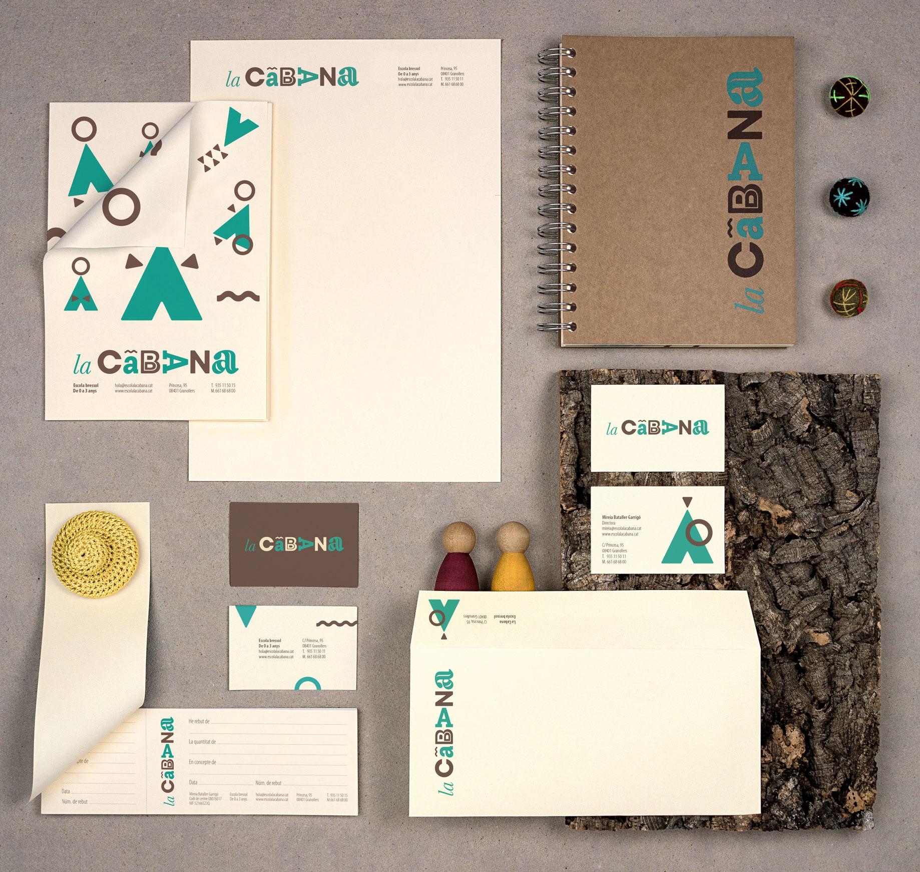 La Cabana escola bressol branding disseny de logo identitat visual corporativa senyalètica papereria Vibranding