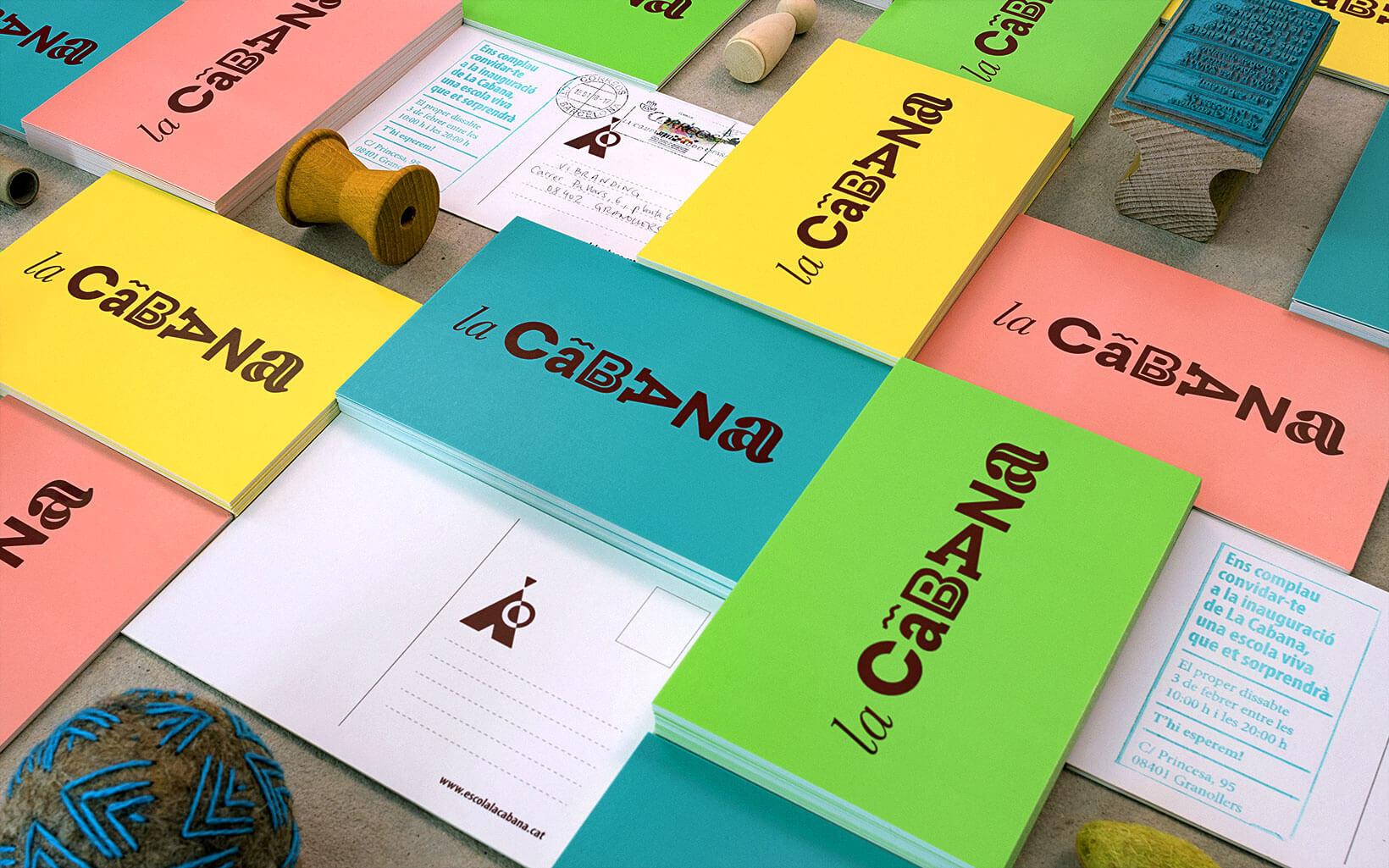 Postales comerciales y diseño de flyers con logotipo y colores corporativos para La Cabana de Vibranding