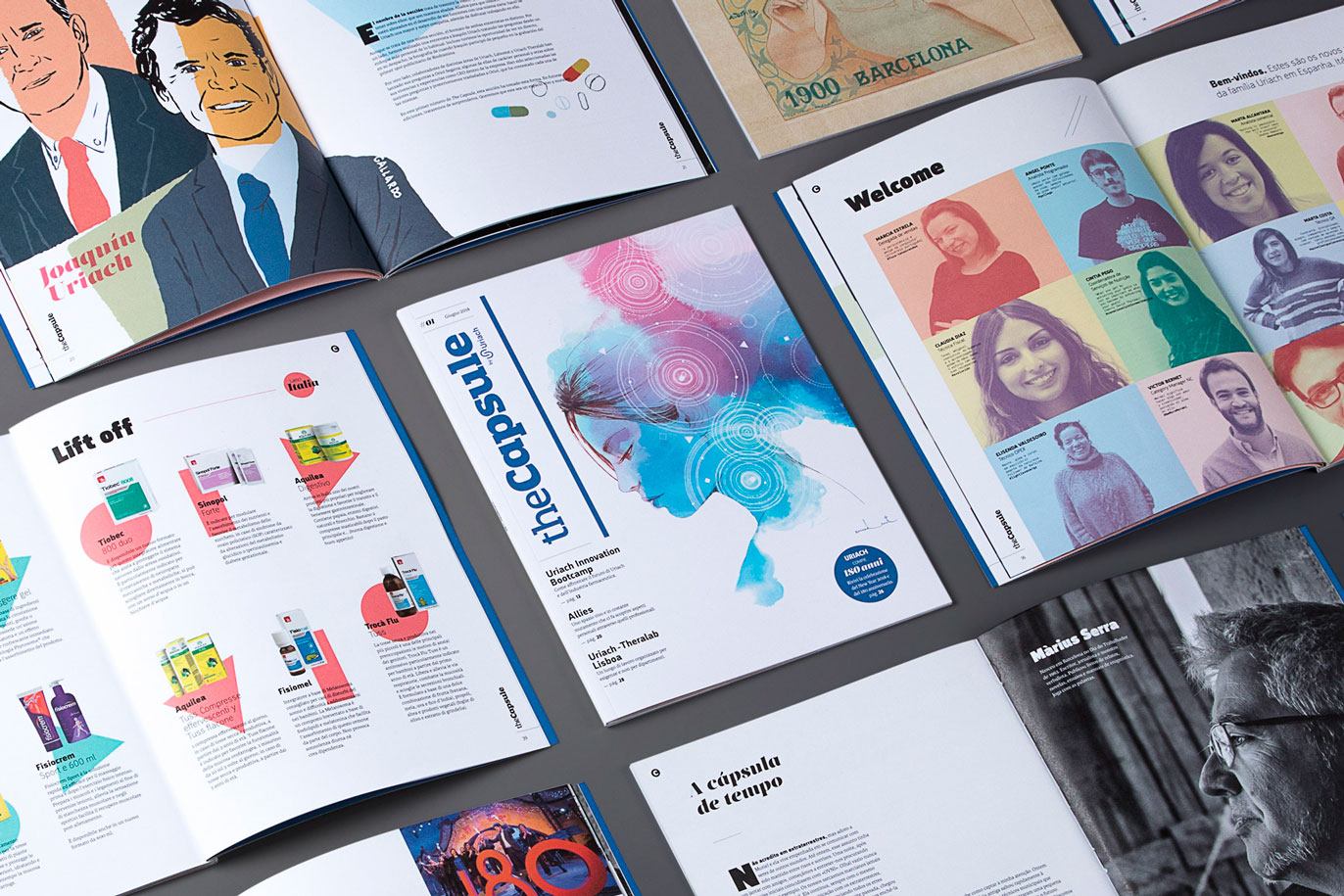 Uriach editorial design the capsule corporate magazine pharmaceutical laboratory graphic design art direction Vibranding