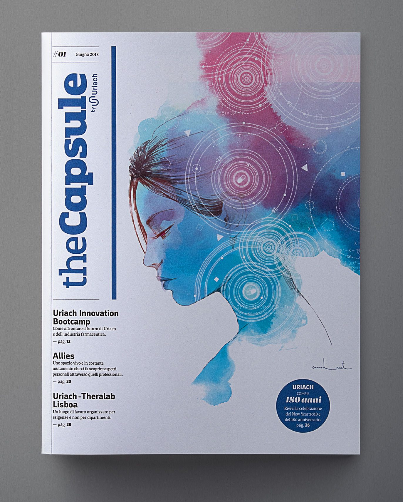 Uriach editorial design the capsule corporate magazine pharmaceutical laboratory graphic design art direction conrad roset Vibranding
