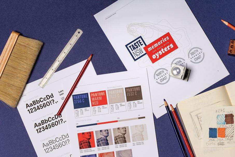 Taste NSW Australia branding diseño de logo identidad corporativa material comercial diseño gráfico guía de estilo Vibranding