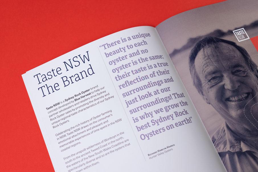 Taste NSW Australia branding diseño de logo identidad corporativa material comercial diseño gráfico folleto Vibranding