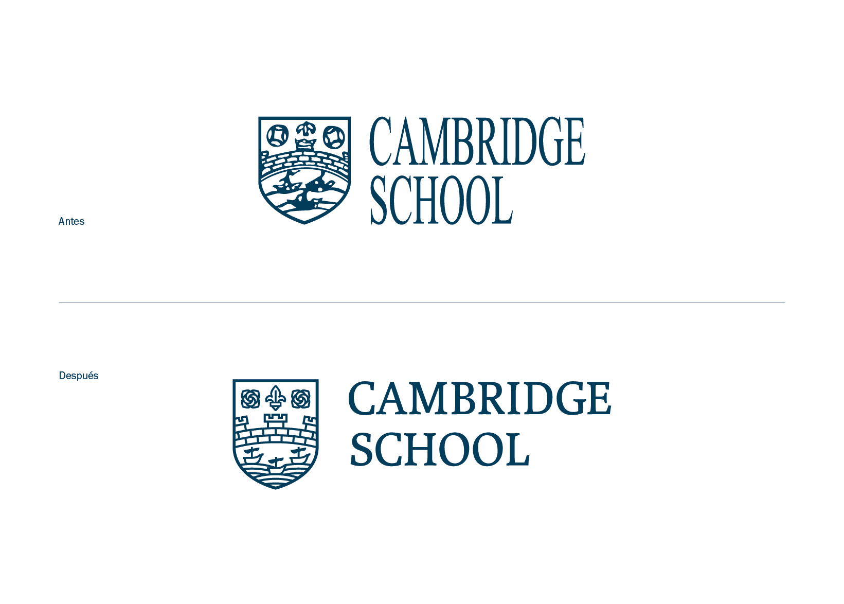 Cambridge School logo restyling english academy languages logotype grpahic design illustration typography Vibranding