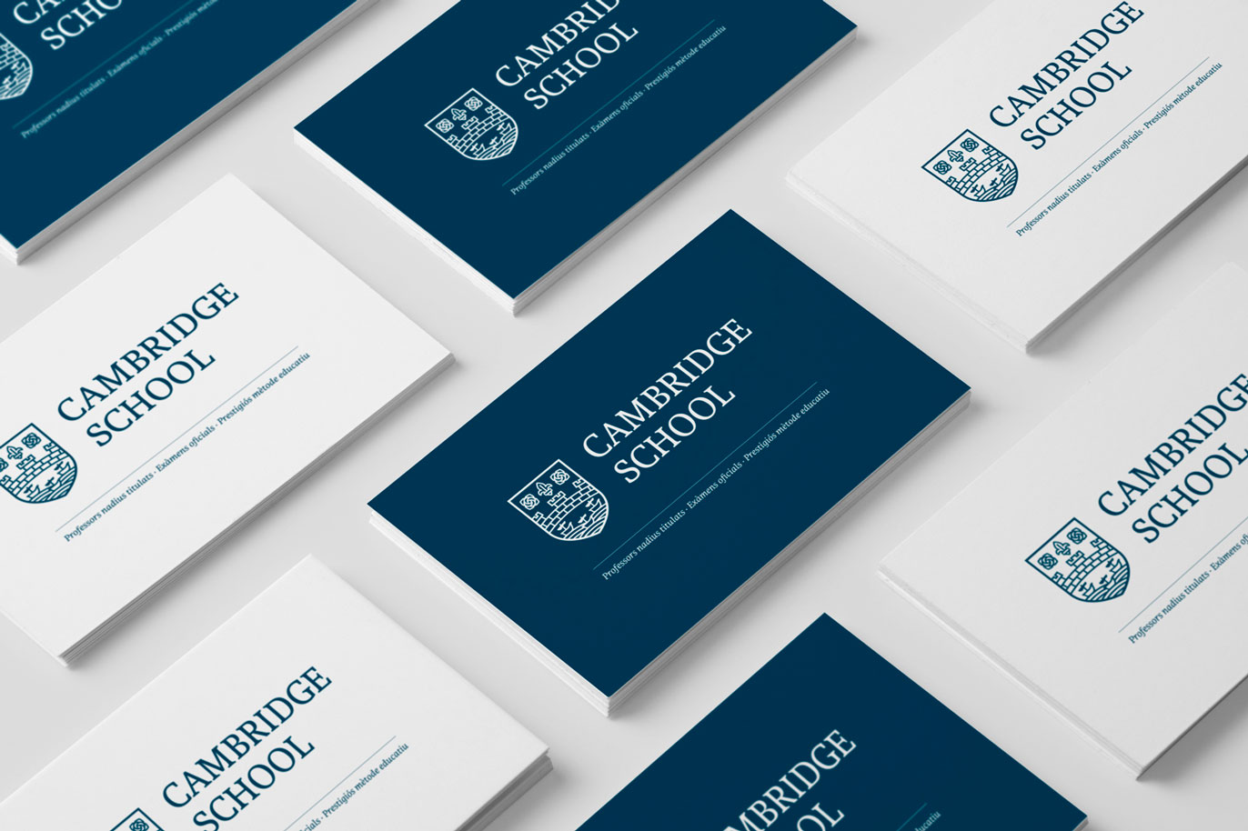 Cambridge School logo restyling english academy languages logotype grpahic design illustration typography business cards Vibranding