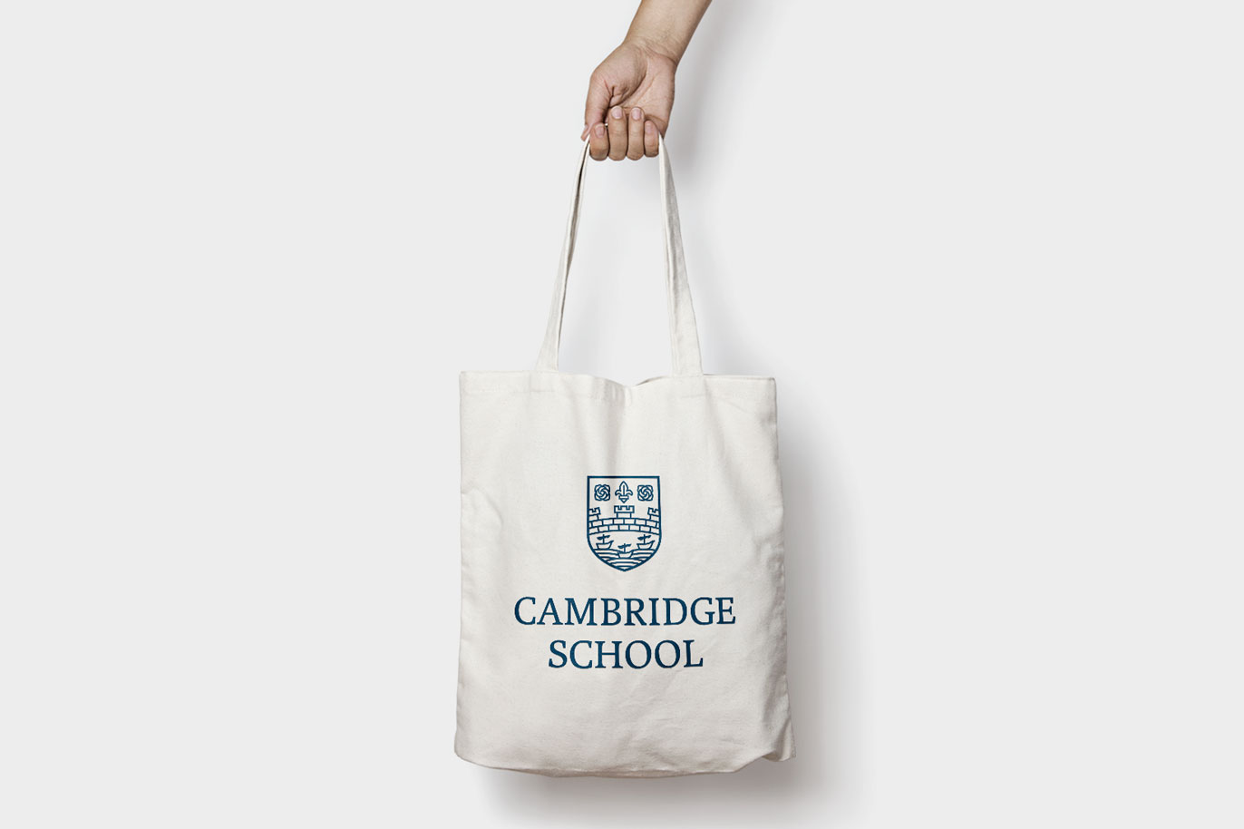 Cambridge School logo restyling english academy languages logotype grpahic design illustration typography tote bag Vibranding