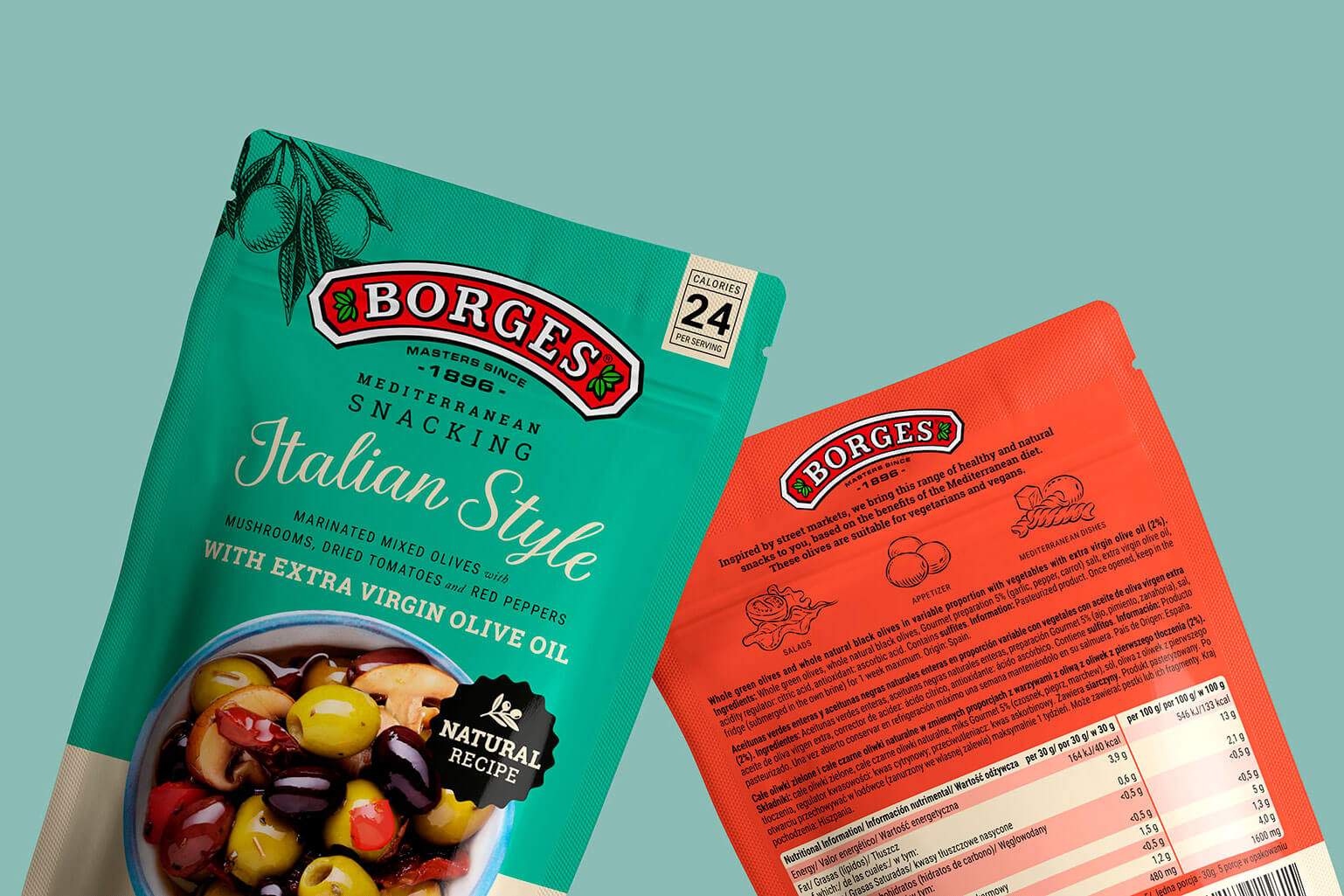 Packaging Borges Mediterranean Snacking branding diseño naming ilustracion