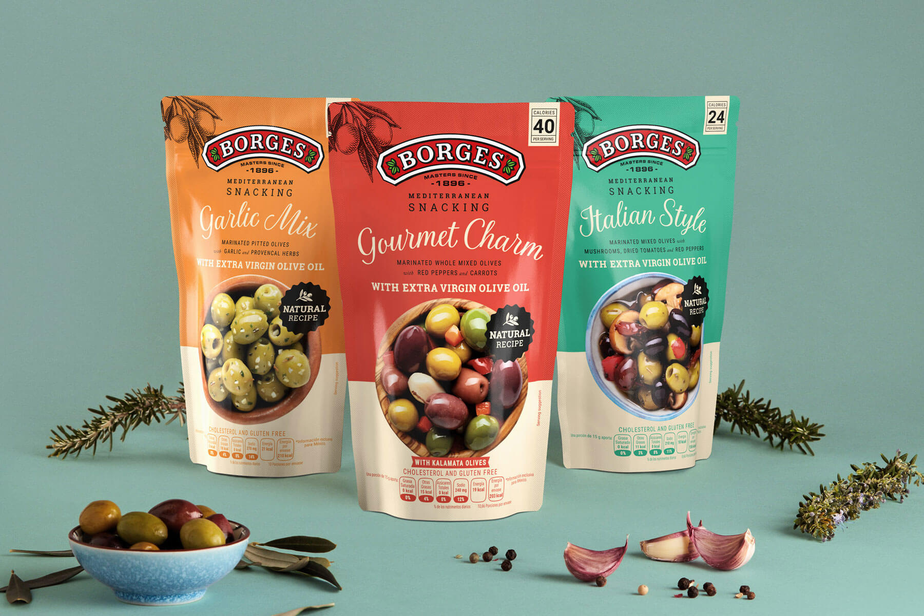 Borges International Group packaging olives graphic design product shooting Vibranding