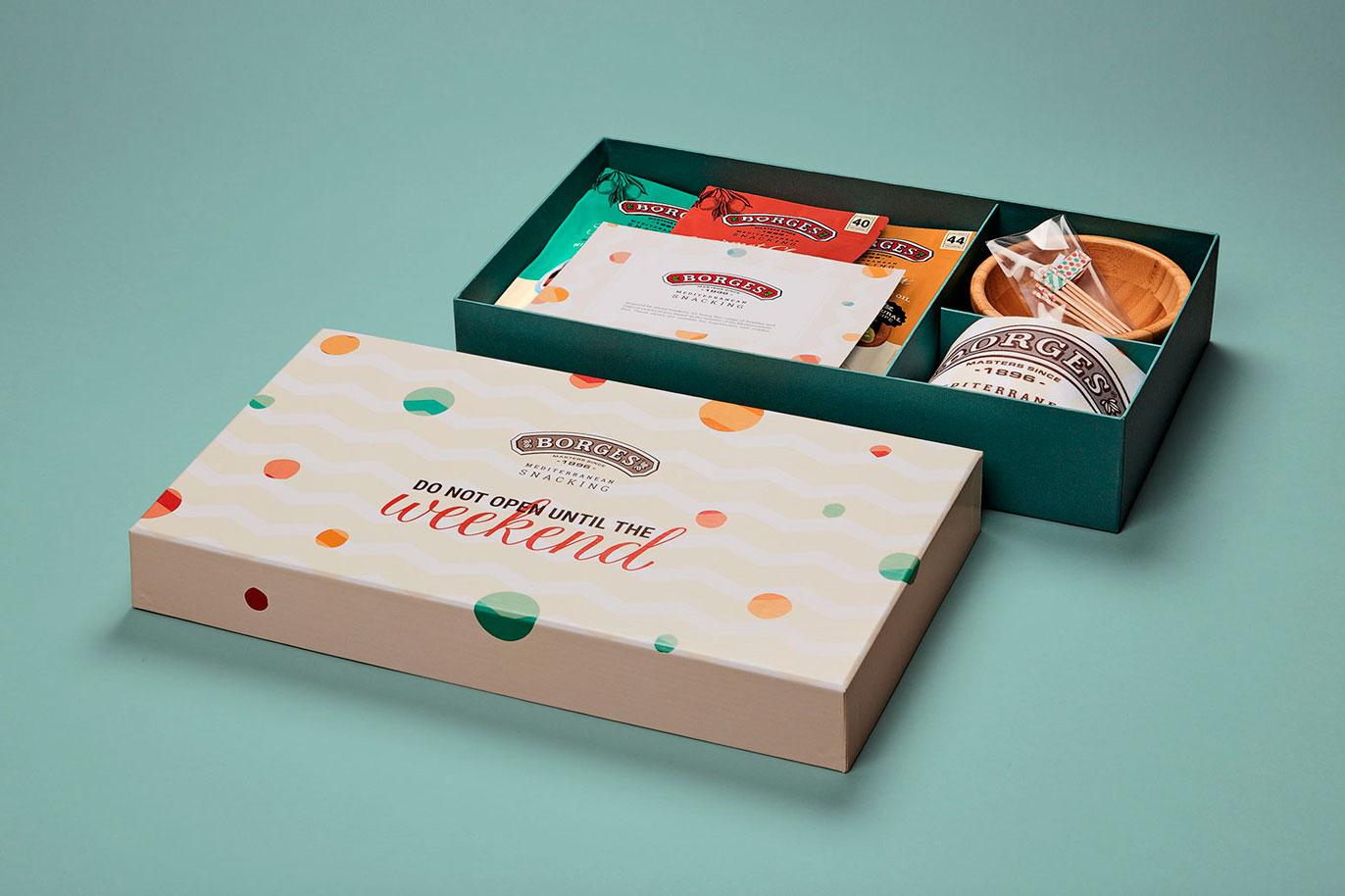 Borges International Group packaging aceitunas diseño gráfico shooting de producto ilustración kit comercial Vibranding