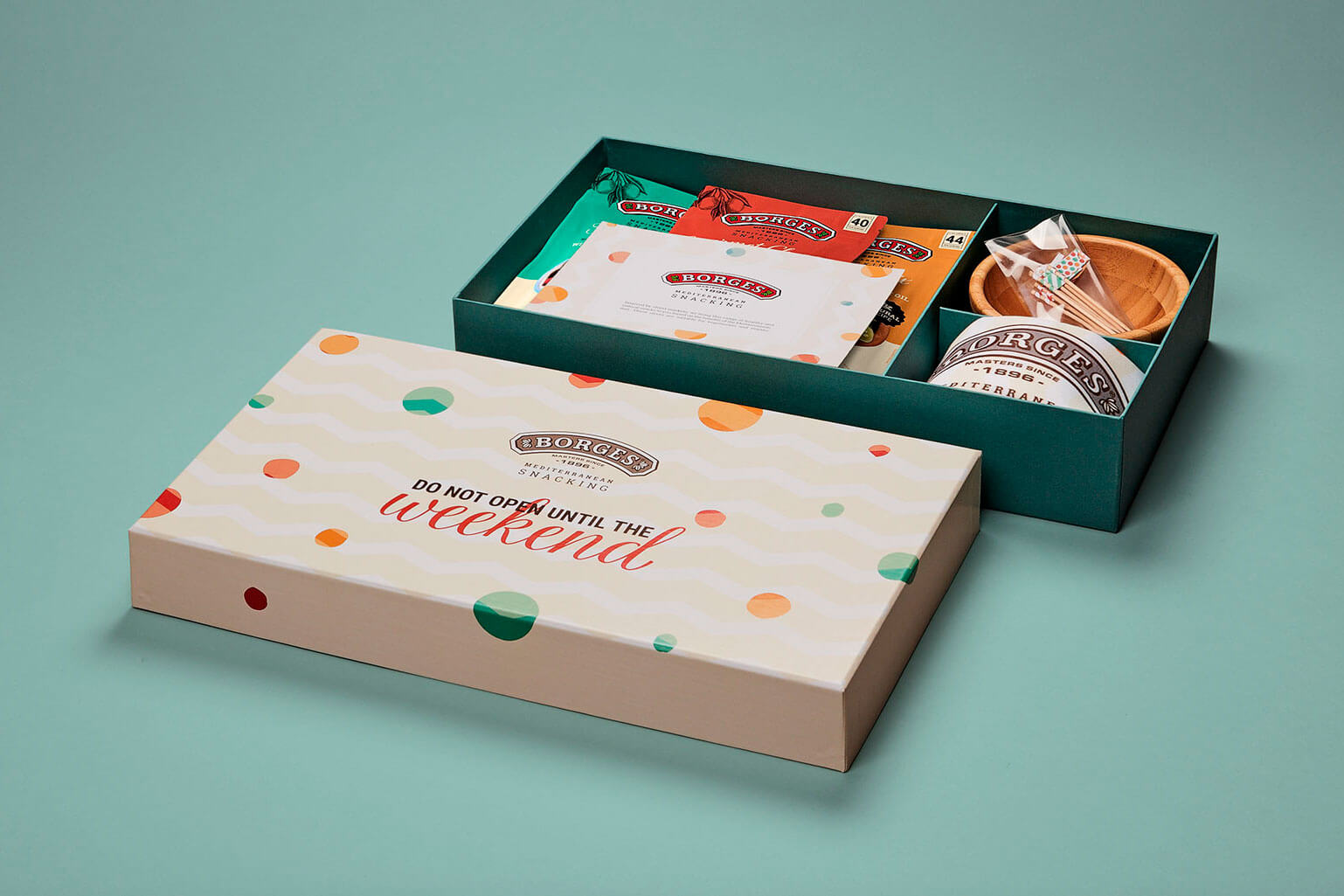 Packaging Borges Mediterranean Snacking branding diseño naming ilustracion caja comercial kit