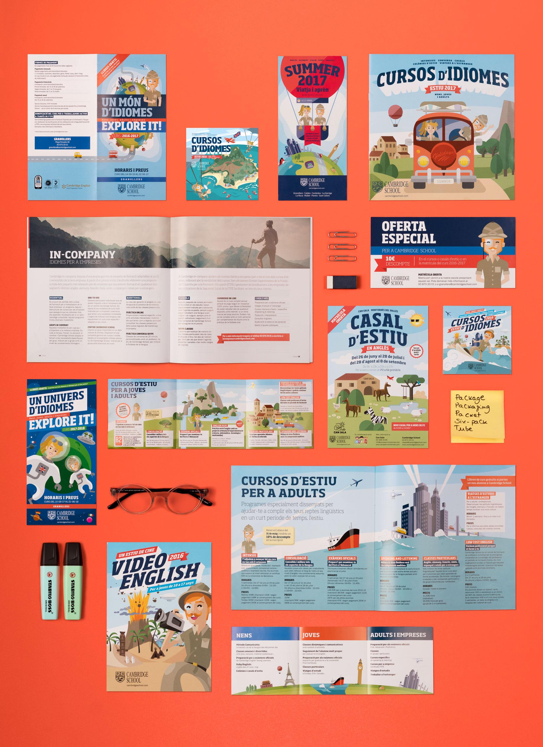 Cambridge School idiomas academia de inglés branding comunicación gráfica ilustración poster flyer catálogo Vibranding