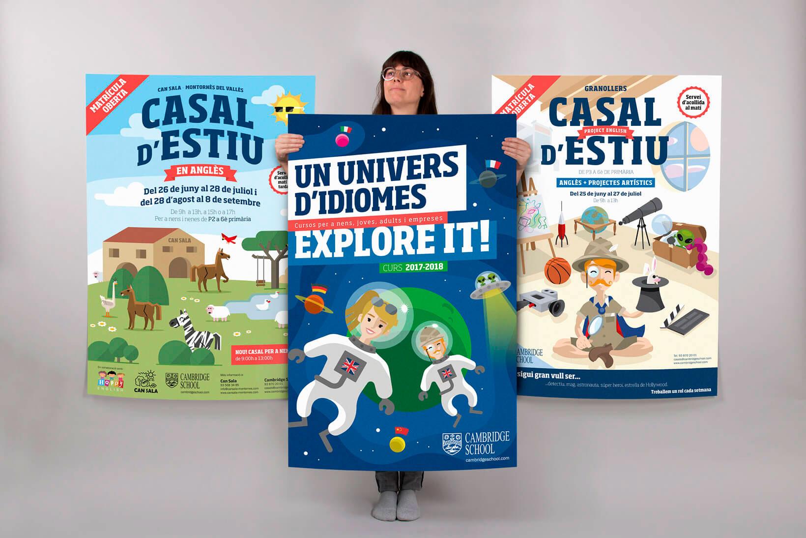 Cambridge School idiomas academia de inglés branding comunicación gráfica ilustración póster dirección de arte Vibranding