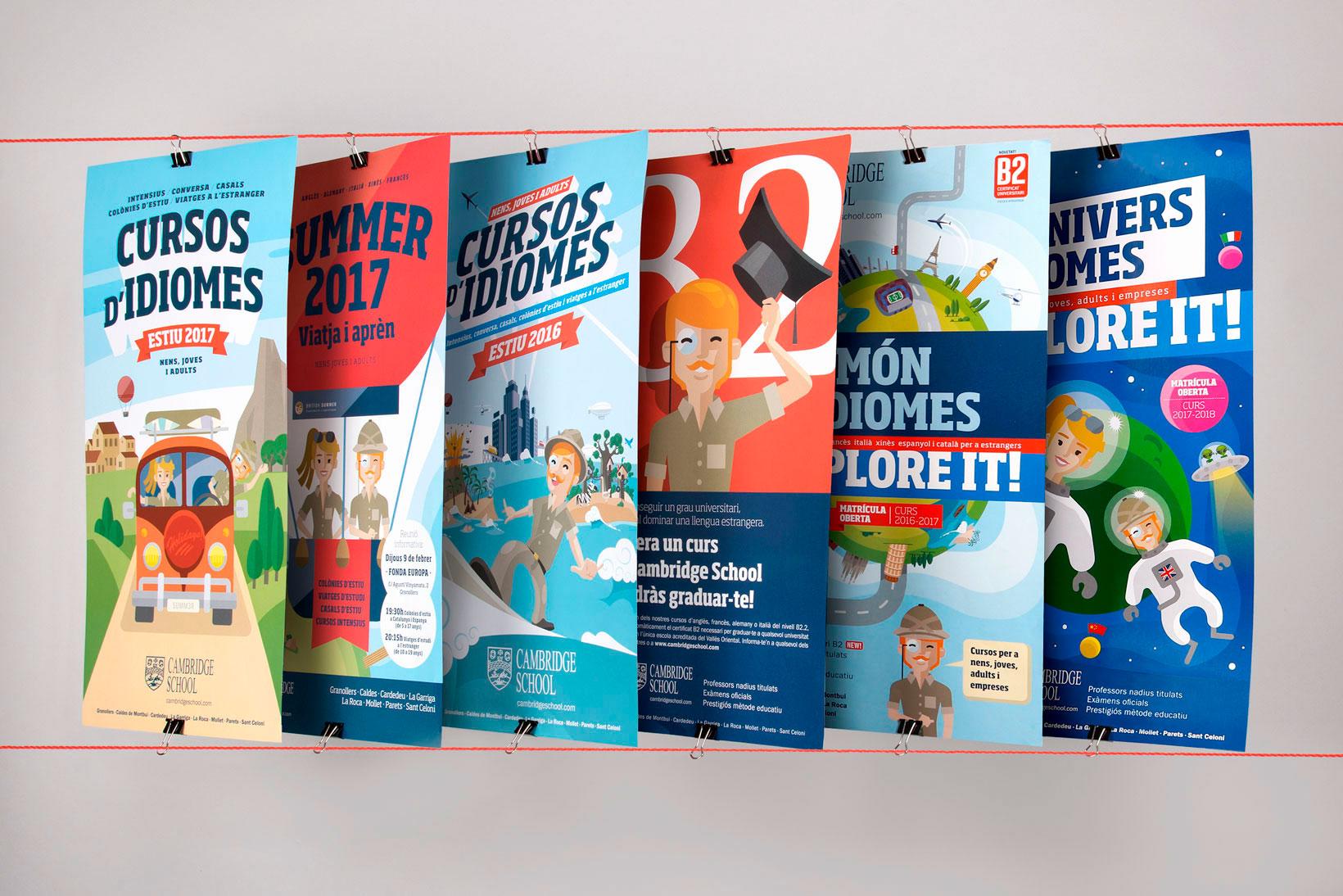 Cambridge School idiomas academia de inglés branding comunicación gráfica ilustración póster Vibranding