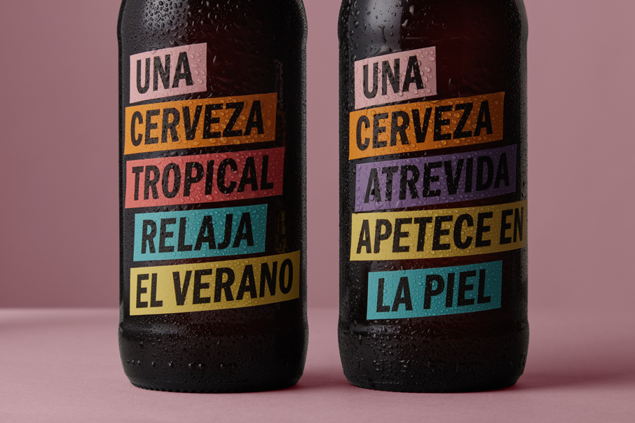 Packaging Label design Una Cerveza Beer fmcg fast moving consumer goods Vibranding graphic design stickers
