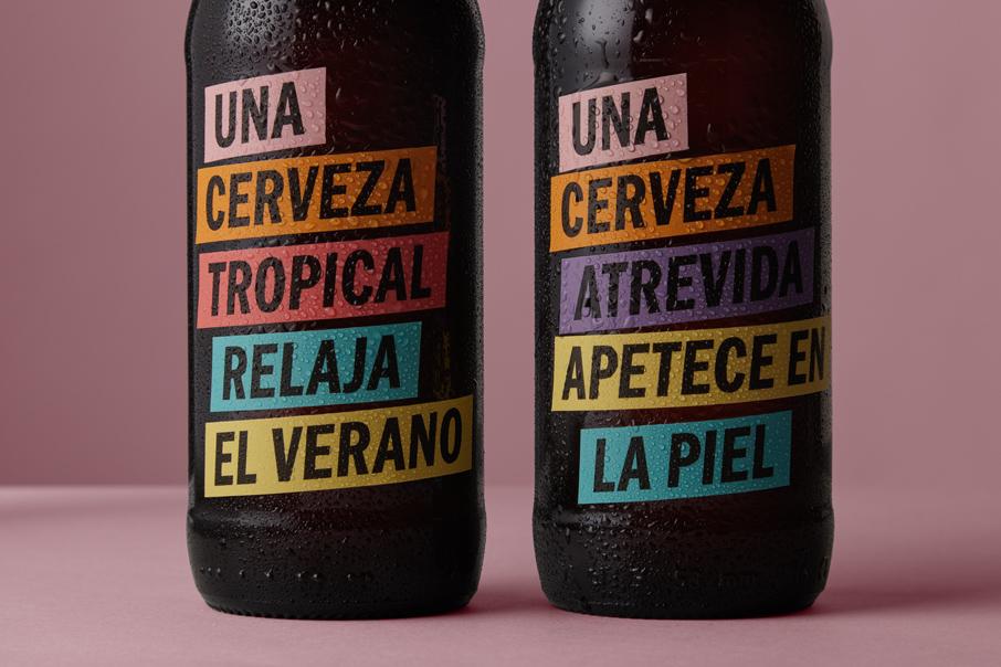 packaging diseño de etiquetas Una Cerveza gran consumo Vibranding diseño gráfico pegatinas