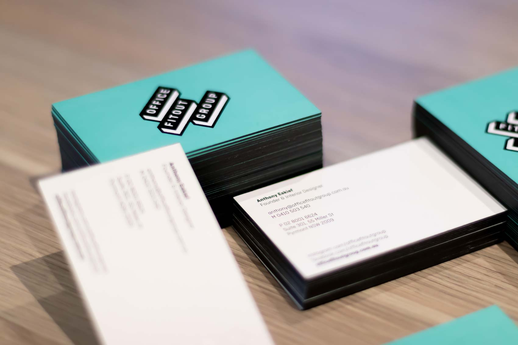 Office Fitout Group graphic communication web design Vibranding visit cards branding corporate identity logotype