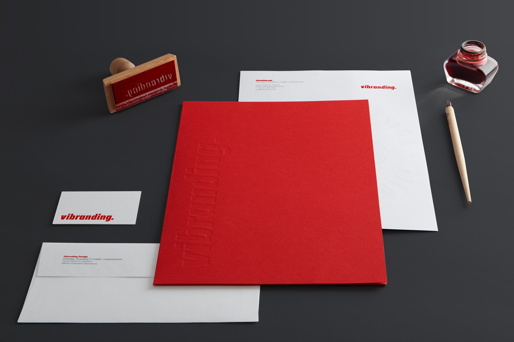 Stationery graphic design Vibranding branding visit cards