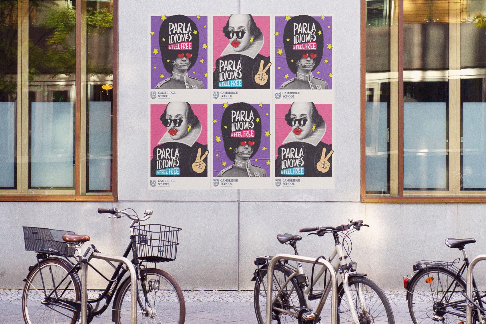Branding Cambridge School Comunicació gràfica campanya offline cartelleria pòsters il·lustració copywriting marca disseny Vibranding