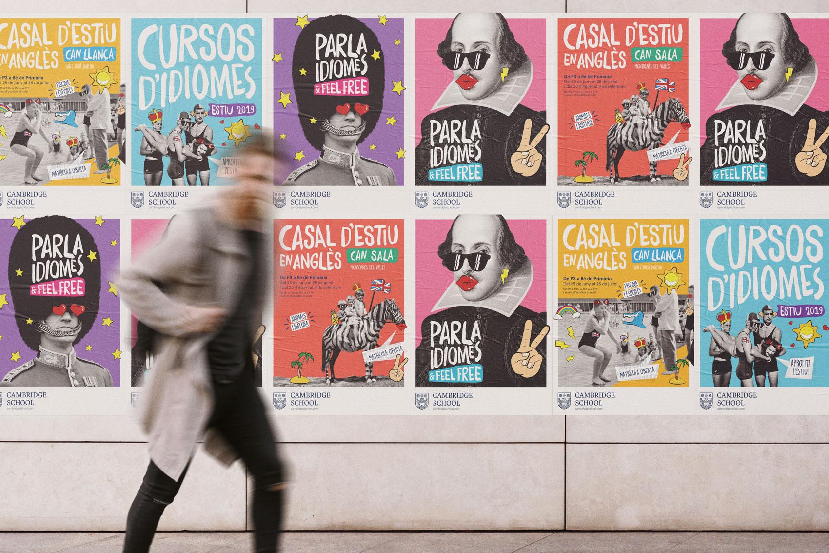 Branding Cambridge School Comunicació gràfica offline campanya cartells il·lustració marca disseny Vibranding