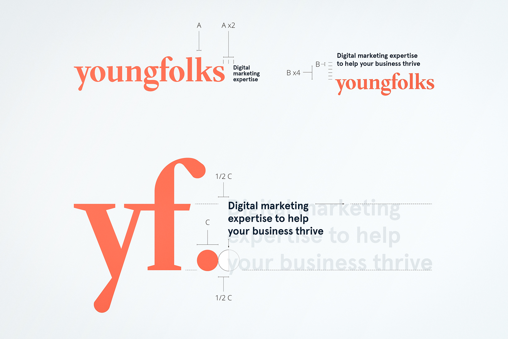 Young Folks brand book digital marketing branding identidad corporativa diseño gráfico logo isotipo Vibranding
