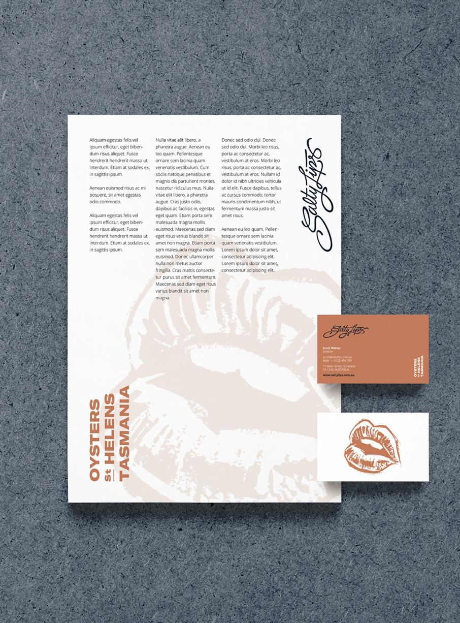 Identitat corporativa Salty Lips disseny Vibranding papereria logotip