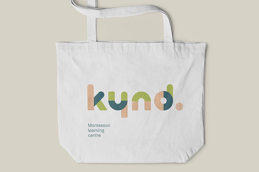 Kynd Montessori Learning Center Branding Corporate Identity visual communication graphic design logo design tote bag Vibranding