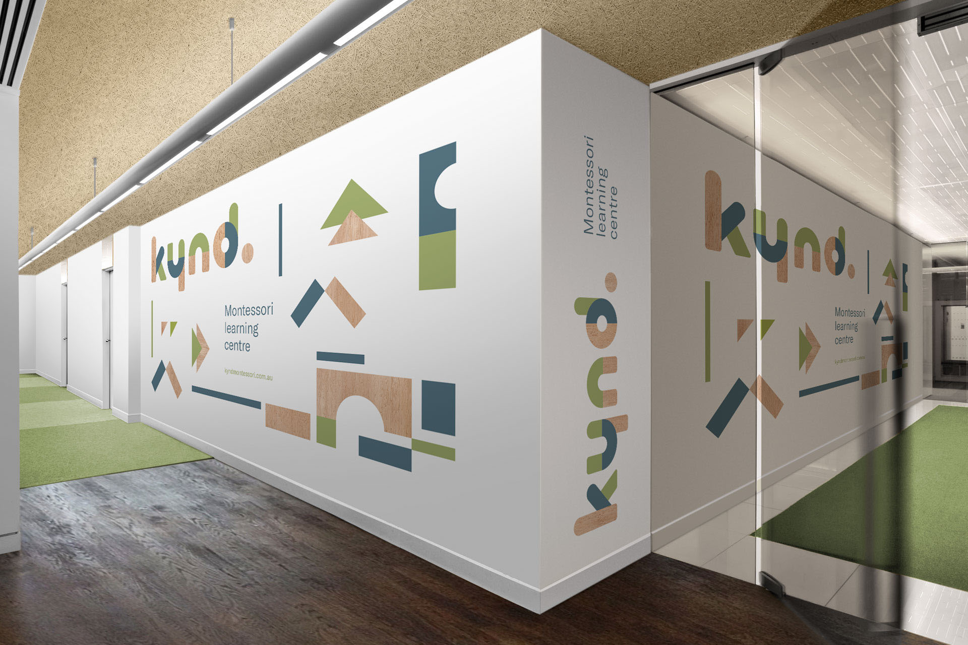 Kynd Montessori Learning Center Branding Corporate Identity visual communication graphic design logo design wall Vibranding