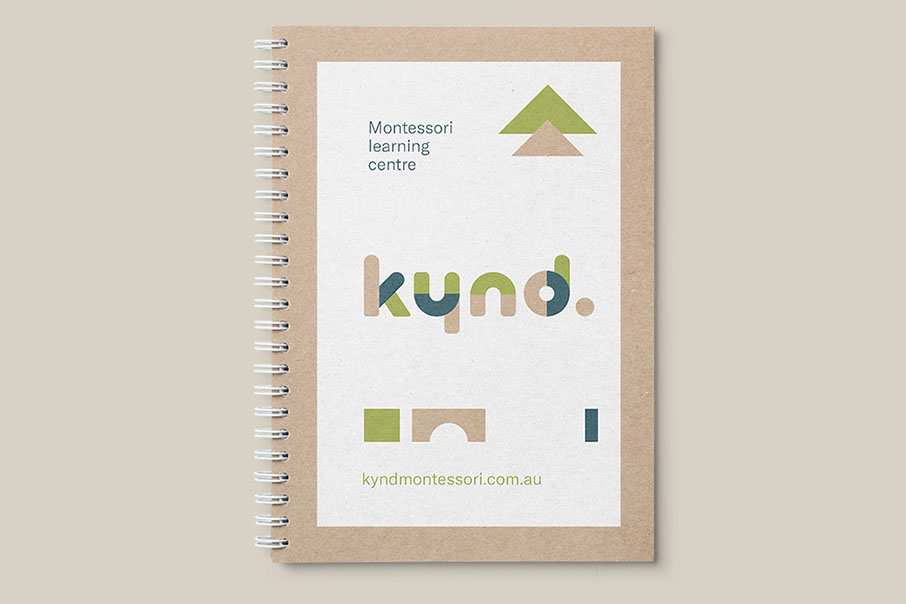 Kynd Montessori Learning Center Branding Corporate Identity visual communication graphic design logo design note book Vibranding