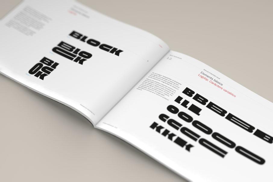 Detall dels usos tipogràfics en el brand book de l'empresa Block Audioviuals