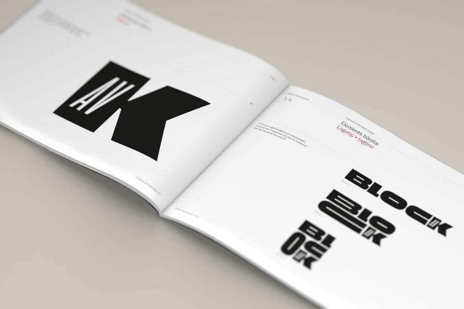 Pàgina de detall del logo en el brand book de l'empresa Block Audioviuals