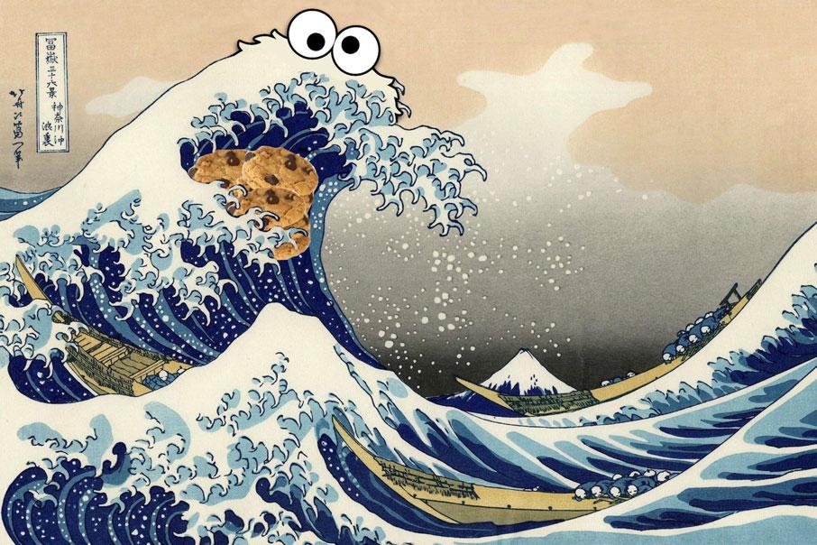 El monstruo de las galletas en pintura tradicional japonesa para hablar de cookieless y marketing