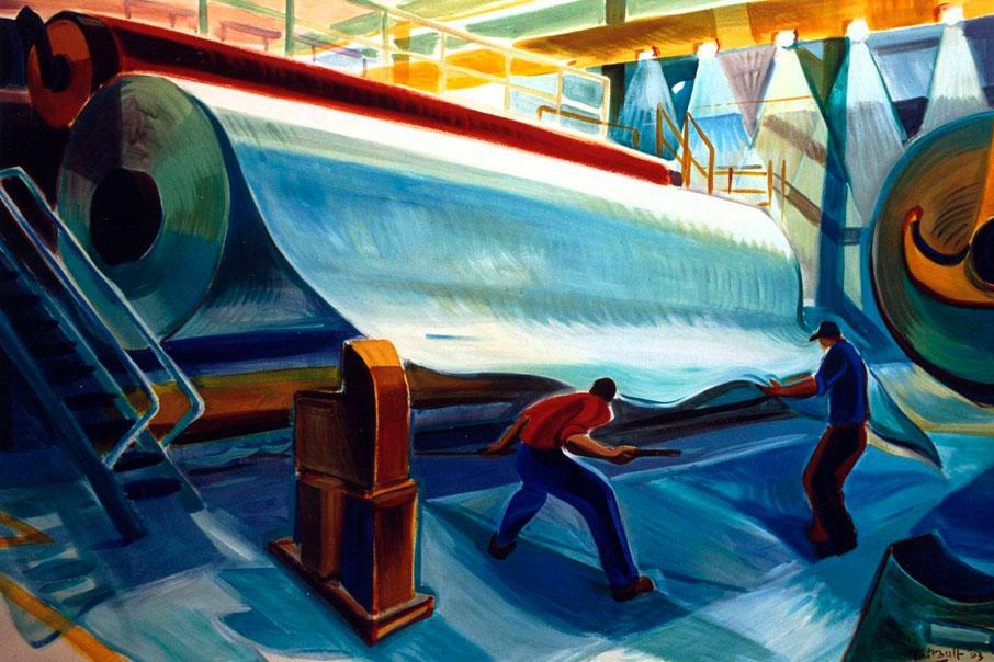 Pintura colorista sobre la producción de papel para el artículo Recycling y Upcycling